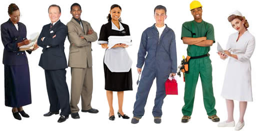 Diverse group of jobseekers and personnel